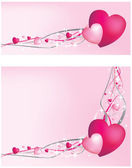 Pink hearts on strings background — Stock Photo
