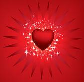 Estrellas y starburst rojo corazón — Foto de Stock