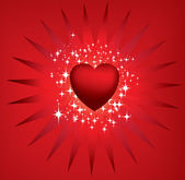 Red starburst heart and stars — Stock Photo