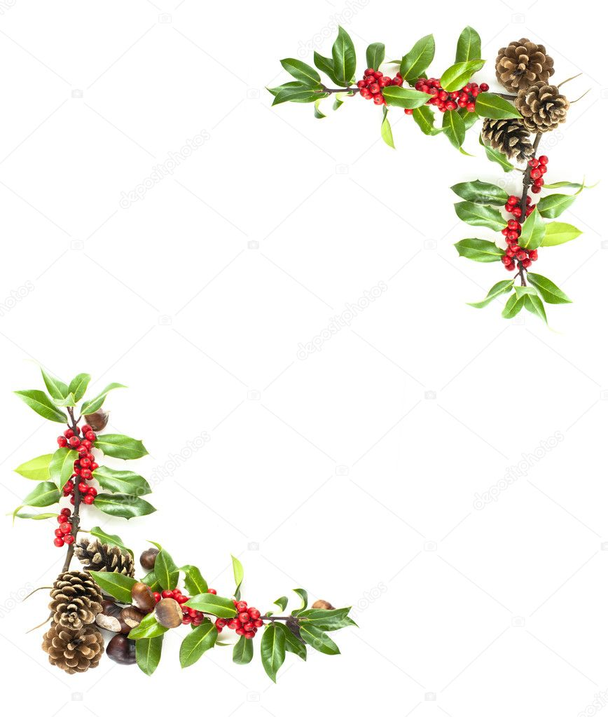 Christmas Holly Corner Border Christmas winter holly and red