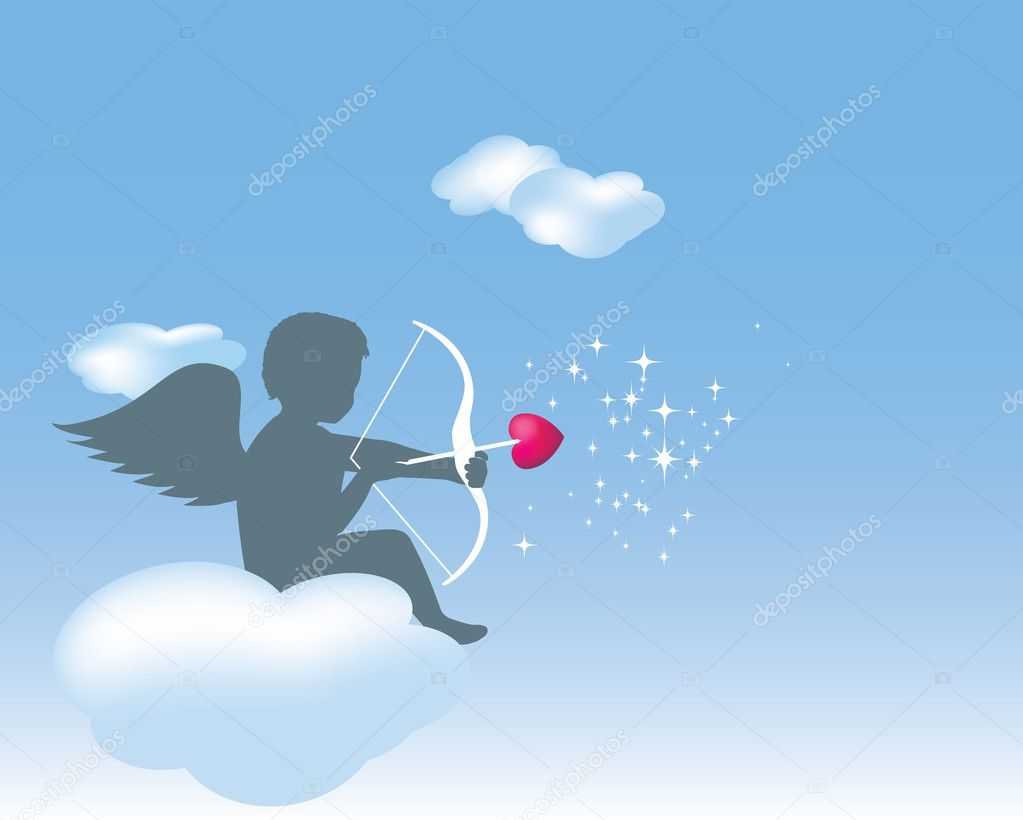 Cupid sitting on a cloud with his bow an — Stock Photo © Joingate ...