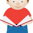 Child standing reading book — Stock Photo