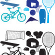 Sports object silhouettes - Stock Photo