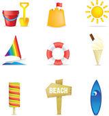 Beach icons — Stock Photo