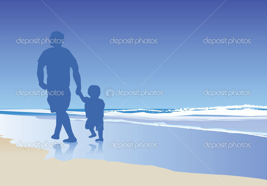 A vector illustration of a dad and his child walking on the beach — Stock Photo #2118157