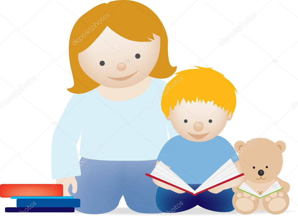 A vector illustration of a mum and her little boy reading a book — Stock Photo #2118313