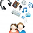 Couple listen to music — Stock Photo