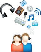 Couple listen to music — Stock Photo