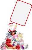 Santa claus en teken — Stockfoto