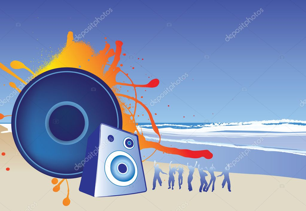 Illustration of a beach party music background  Stock Photo #2138300