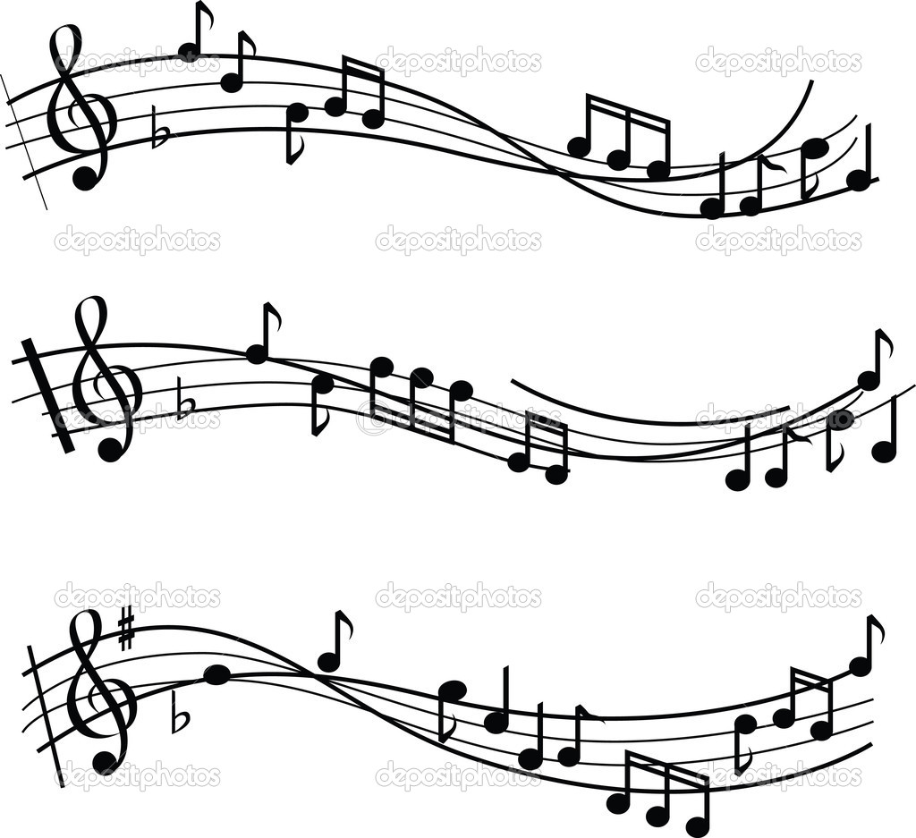 Illustrated musical notes on sheet music design — Photo #2138449