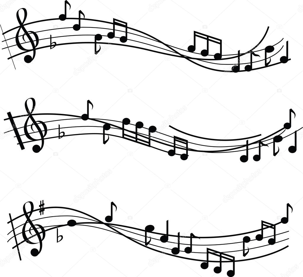 Illustrated musical notes on sheet music design  Foto de Stock   #2138449