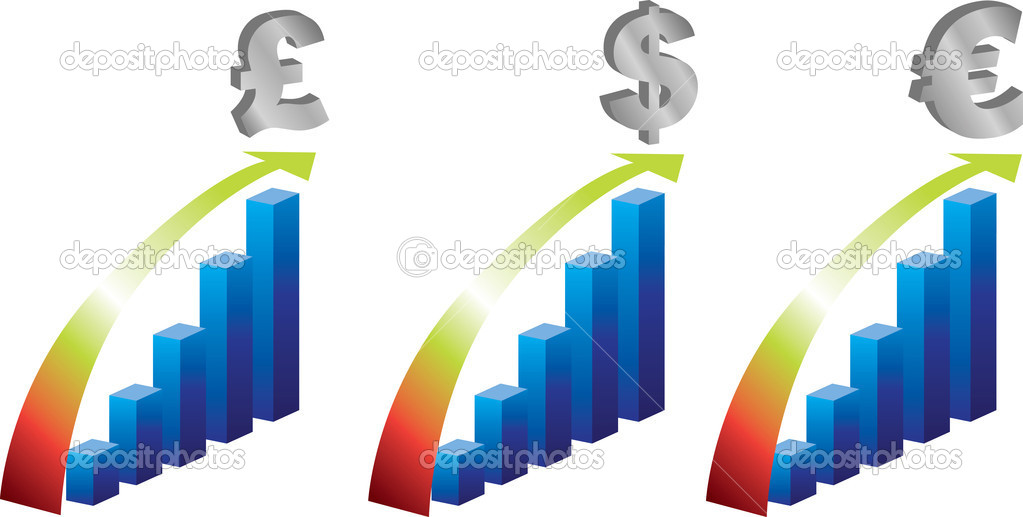 Bar charts of worldwide currency value improving — Stock Photo #2144630