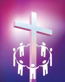 Circle holding hands around cross — Stock Photo