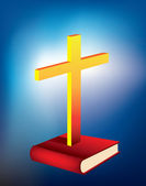 Bible and cross — Stock Photo