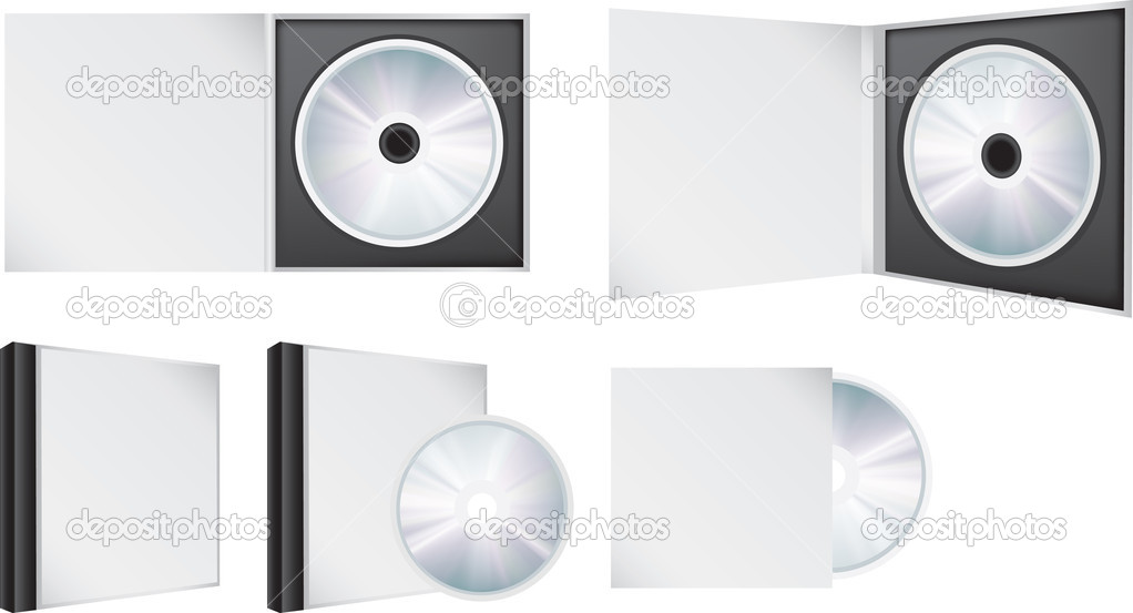 Blank illustration visual of a cd in and out of box — Stock Photo #2153497