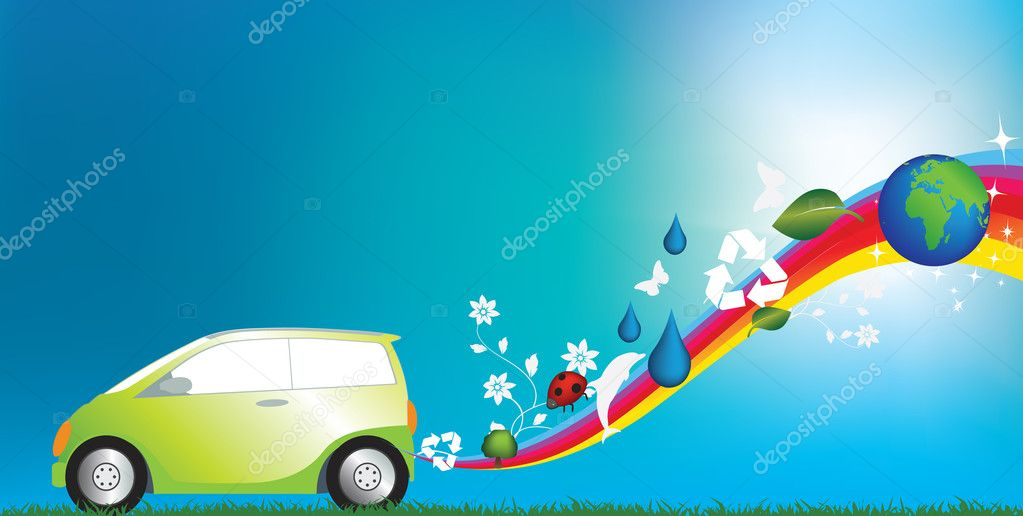 Illustration of an environmentally freindly green car — Stock Photo #2154298