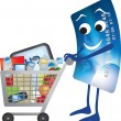 Credit card and shopping trolley cartoon — Stok fotoğraf