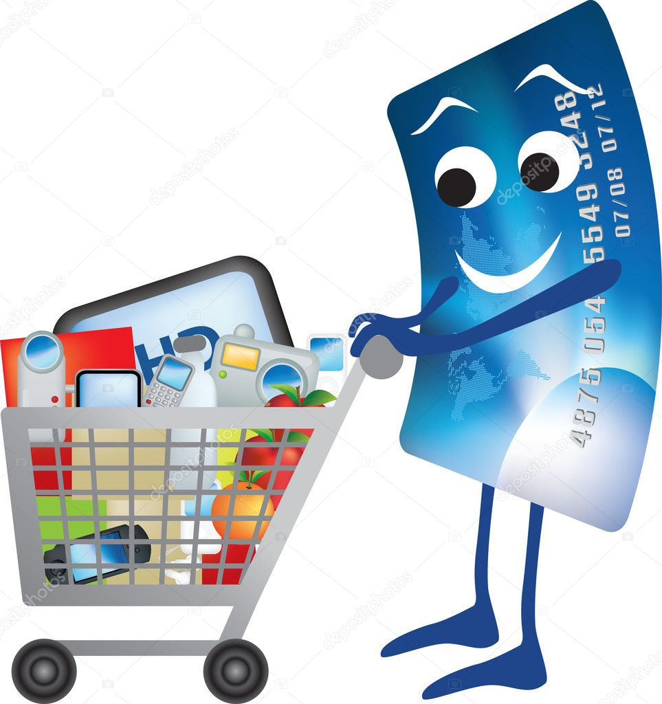 Illustration of credit card and shopping trolley cartoon — Stock Photo #2170411