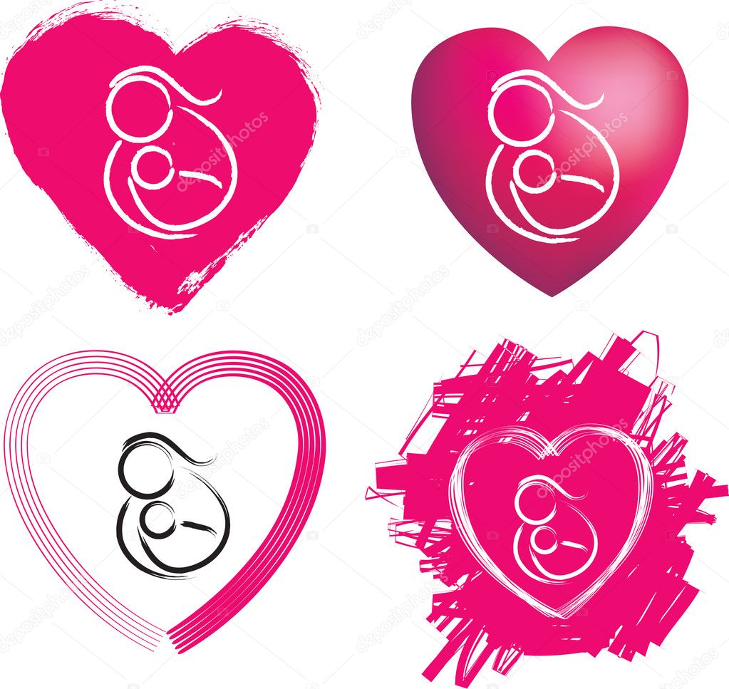 Set of 4 heart illustrations of mother and child —