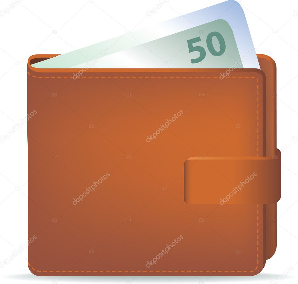 Illustration of  wallet and cash with 50 number — Stock Photo #2176633