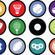 Royalty-Free Stock Photo: Sports balls button set