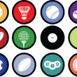 Stock Photo: Sports balls button set