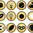 Sports balls button set — Stock Photo