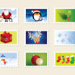 Set of christmas stamps — Stock Photo