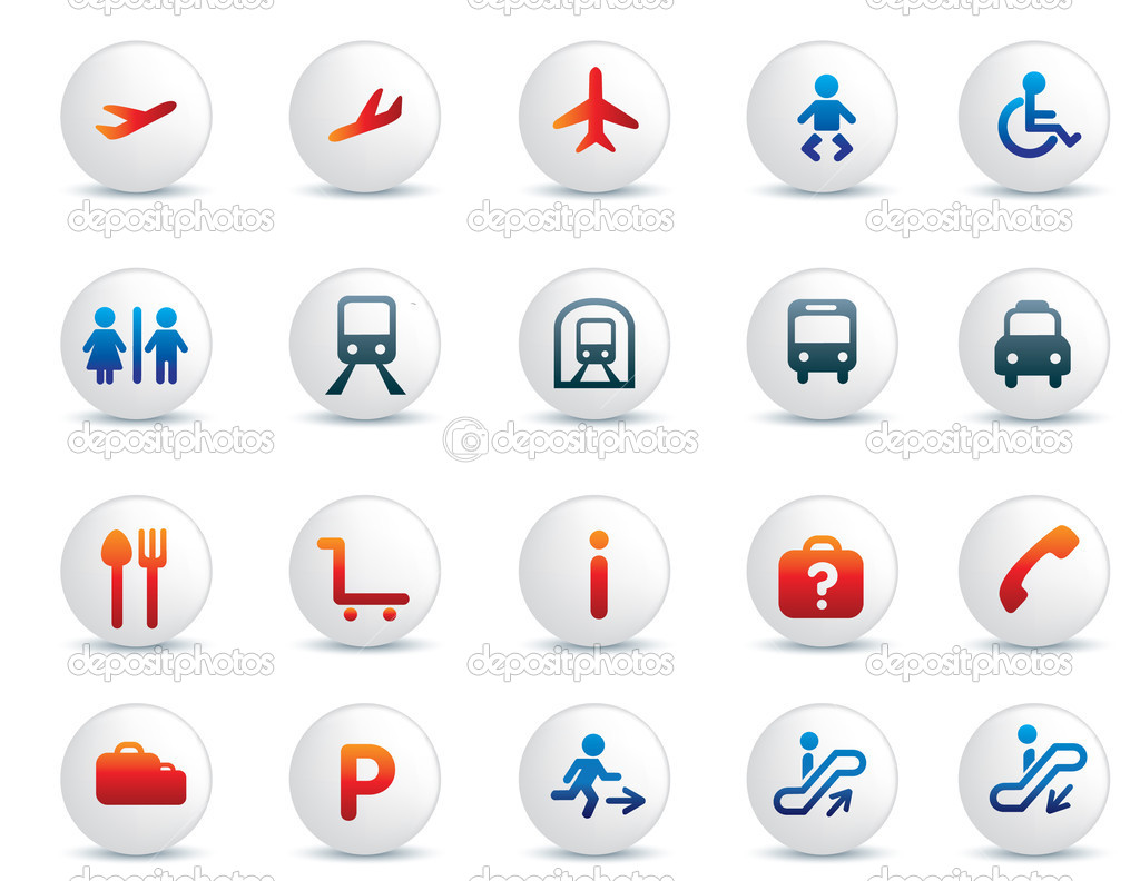Travel icon illustration set on blue and orange and grey — Stock Photo #2200064