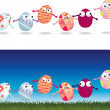 Easter egg cartoon characters — Stock Photo