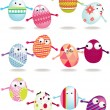 Stock Photo: Easter egg cartoon icon set