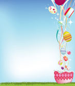 Easter egg and streamer background — Stock Photo