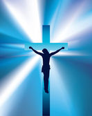 Christ on cross light beam background — Stock Photo