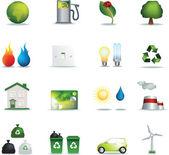 Eco icons realistic — Stock Photo