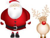 Santa and rudolph isolated — Stock Photo
