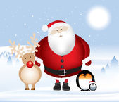 Santa rudolph and penguins — Stock Photo