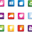 Royalty-Free Stock Photo: Coloured home icon button set