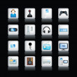 Stock Photo: Detailed entertainment icons on black