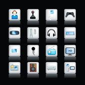Detailed entertainment icons on black — Stock Photo
