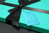 Gift in a blue box — Stock Photo