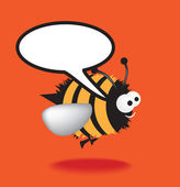Bee with speech bubble — Stock Photo