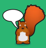 Red squirrel speech bubble — Stock Photo