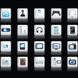 Electronic icons on black — Stock Photo