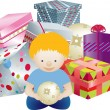 Boy and presents - Stock Photo