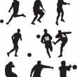Footballer silhouette set — Stock Photo