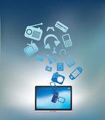 Laptop explodiert blau — Stockfoto