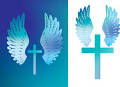 Cross and wings colour — Stock Photo