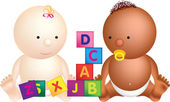 2 babies play with building blocks — Stock Photo