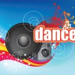Dance on blue flyer — Stockfoto